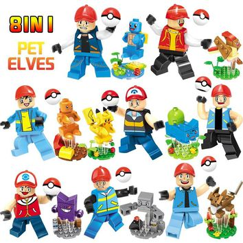 8 In1 New Building Blocks Pocket Monster Pikachu Eevee Ketchum Squirtle  Mini Dolls LegoINGLYS Cartoon Dolls gifts toys for Kids