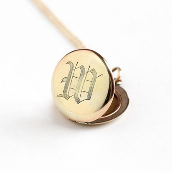 Antique Monogrammed W Gold Filled Locket Pendant Necklace - Early 1900s Edwardian Initialed Personalized Signet Fob Charm Picture Jewelry
