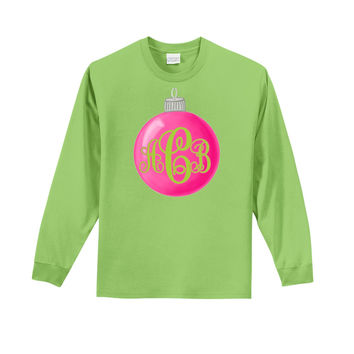 Pink/Green Ornament Monogram on Long Sleeve Lime T-Shirt