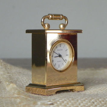 Vintage Bulova boutique clock collectible miniature B0503 Musette carriage clock