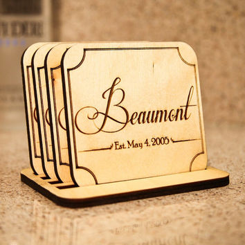 Custom Engraved Wood Monogram Family Name Coasters