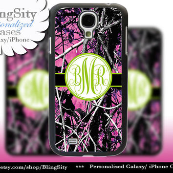 Camo Green Monogram Galaxy S4 case S5 RealTree Pink Purple Muddy Camo Personalized Samsung Galaxy S3 Case Note 2 3 Cover Country Girl