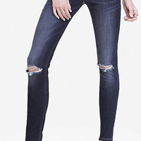 Dark Mid Rise Distressed Knee Jean Legging from EXPRESS