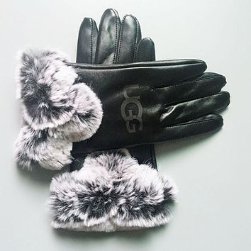 UGG Winter Woman Fur Leather Gloves