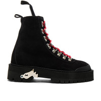 OFF-WHITE Suede Hiking Mountain Boots in Black | FWRD