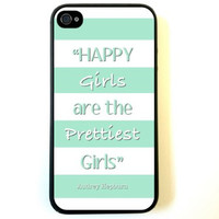 iPhone 4 Case Silicone Case Protective iPhone 4/4s Case AUdrey Hepburn Quote Happy Girls Turquoise