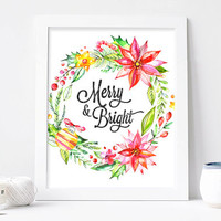 Merry and Bright Christmas Print 8x10 - Handlettered Calligraphy Christmas Decor