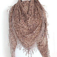 brown leopard scar,lace scarf,scarf,gift