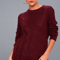 Irreplaceable Love Burgundy Cable Knit Sweater