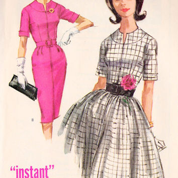 "1960s Misses Dress with Full or Slim Skirt Vintage Sewing Pattern, McCall's 6179 bust 34"" uncut"