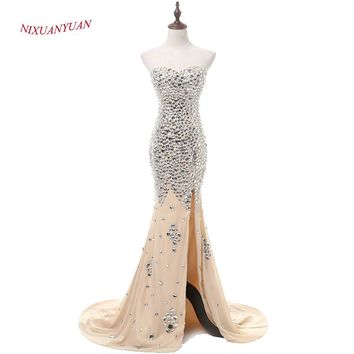 New Custom Made Luxury Crystal Mermaid Prom Dress