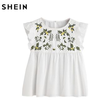 SHEIN Embroidery Blouse Women Casual Blouses White Flower Embroidered Sleeveless Buttoned Keyhole Ruffle Babydoll Top