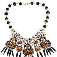 HOLLYWOOD GLAM STONE SPIKE NECKLACE LEOPARD