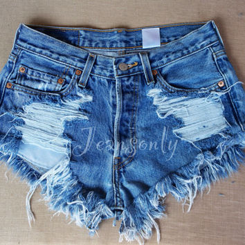 Levis high waisted shorts denim cutoffs shredded distressed custom made to order by Jeansonly