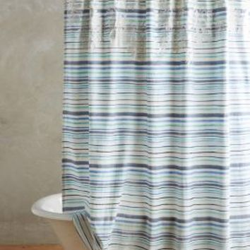 Low Tide Shower Curtain by Anthropologie in Blue Motif Size: One Size Shower Curtains