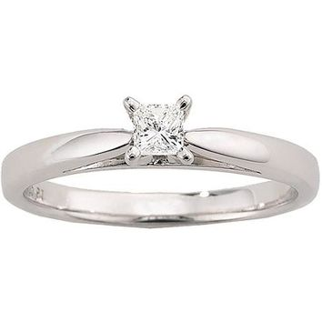 Always & Forever Platinaire 1/5 Carat Diamond Princess Solitaire Engagement Ring - Walmart.com