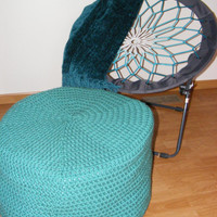 Turquoise Cylindrical Crochet Ottoman Floor Pouf, Seat, Pillow Extra Large