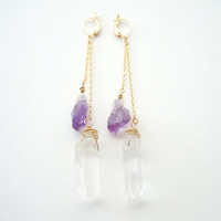 Amethyst and Raw Crystal Point Earrings - Long Chain - Elegant Dangle Earrings