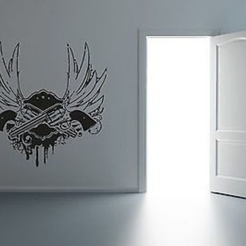 Guns Blood and Wings Wall Art Sticker Decal R020