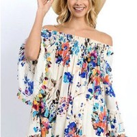 Fiesta Royal Floral On or Off the Shoulder Top