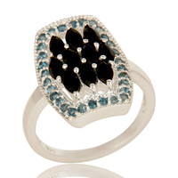 925 Sterling Silver London Blue Topaz And Black Onyx Cluster Statement Ring