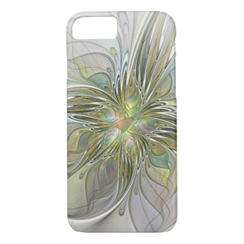 Floral Fantasy Modern Fractal Art Flower With Gold iPhone 8/7 Case