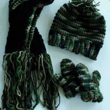 AG'S Crochet Hat Scarf and Mittens Set for Children
