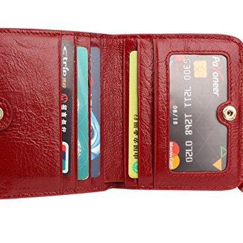 Aladin Ladies Small Bifold Wallet with Coin Purse  Oiled Waxed Leather