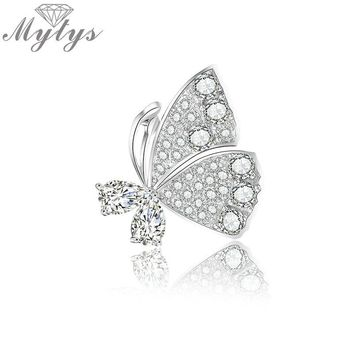 Mytys Full Setting CZ Butterfly Brooch For Women Collar Pins Corsage Rhinestone Insect Brooch Badges Jewelry Accessories X347