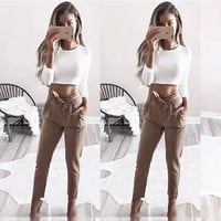 Khaki Pockets Sashes Fashion Long Pants