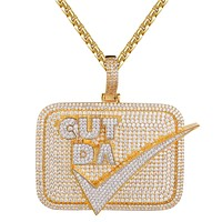 Designer Cut Da Check 3D Gold Finish Micro Pave Pendant Chain