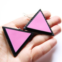 Geometrical jewelry Triangular earrings Pink earrings Gift for wife gifts Modern jewelry Gifts for her Cocktail earrings Casual jewelry gift