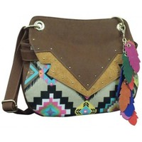 Catchfly by Trenditions Lexi Multi-Colored Aztec Crossbody Ladies Purse