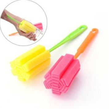 Fashion Style 1 PC Kitchen Cleaning Tool Sponge Brush For Wine glass Bottle Coffe Tea Glass Cup #10 2016 Gift