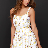 Lucca Couture Floral Debut Ivory Floral Print Dress