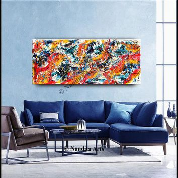 """Paintings, 72"""" Abstract Modern Wall Art Jackson Pollock Style Multicolored Original Painting on Canvas by Nandita Rich Impasto Office Decor"""