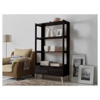 Kalien Modern and Contemporary Wood Leaning Bookcase with Display Shelves and Two Drawers - Dark Brown - Baxton Studio