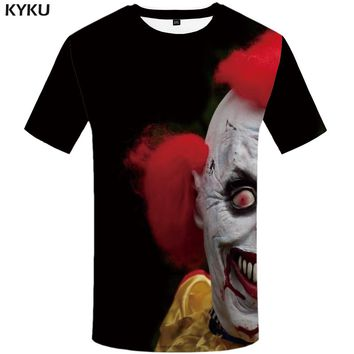 KYKU Clown T-shirt Men Tshirt Punk Rock Print Funny T shirts Black Anime Clothes Ghost Graphic Tee Mens Clothing