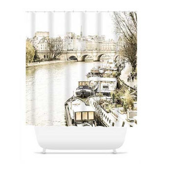 Paris Seine River Polyester Fabric Shower Curtain