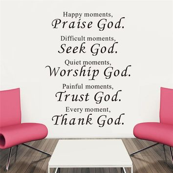 Christian Wall Art Decals - Happy Moments Praise God