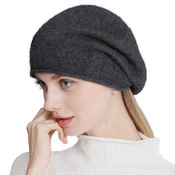 Cashmere Womens Winter Beret Beanie Hat Slouch Baggy Knit Fox Fur Pom Pom Hat