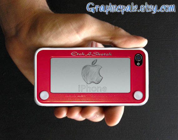 iphone 4 4s case Etch a Sketch design personalized by Graphicpals