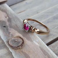 Art Deco Ruby Ring 14k Two Tone Engagement Ladies July birthstone pink red Victorian