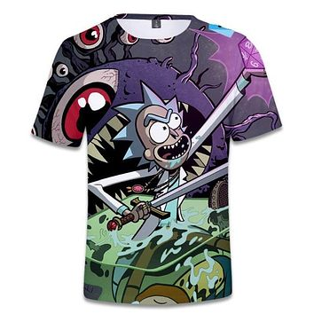 Hip Hop Fashion Brand Clothing Rick and Morty 3D T Shirt Casual Short Sleeve Men's T-Shirts Anime Cool rick y morty Graphic Tees