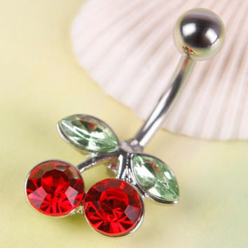 Rhinestone Red Cherry Navel Belly Button Barbell Ring Body Piercing SM6