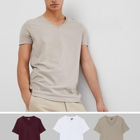 ASOS DESIGN t-shirt with v neck 3 pack SAVE at asos.com