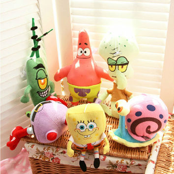 6PCS Spongebob Set Stuffed Plush Sponge Bob/Patrick/Crab/Plankton/Octopus/Snail Dolls