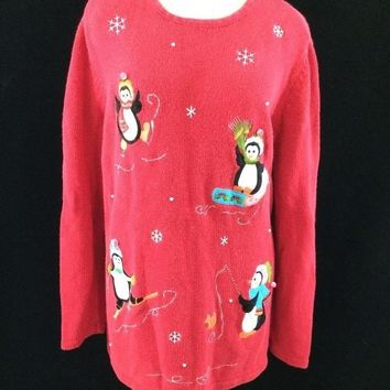 Holiday Editions ugly Christmas penguin sweater size L large red snowflake