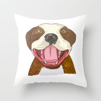 Pit Bull Pride Throw Pillow by Kathy Lyon