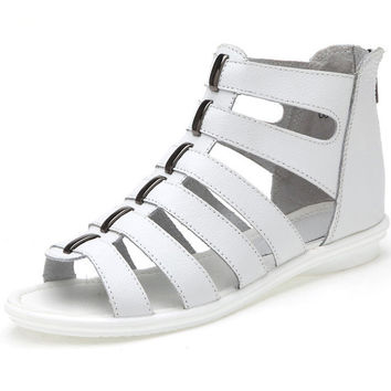 White Hollow-out Sandel Shoes